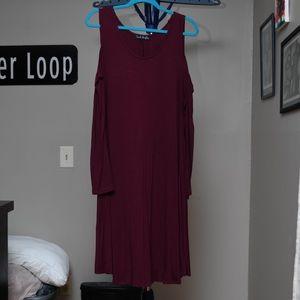 Burgundy Cold Shoulder Dress Sz 3x